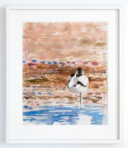 Watercolour avocet birdart