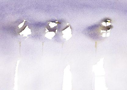 Fågelmålning akvarell, vykort